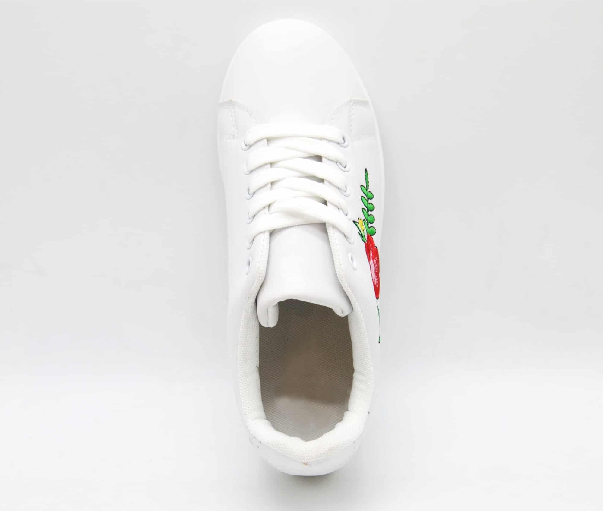 SHY45 * Baskets Tennis Sneakers Simili Cuir avec Broderie Fleurs Multicolore (Blanc)