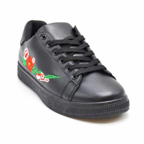 Baskets-Tennis-Sneakers-Simili-Cuir-avec-Broderie-Fleurs-et-Semelle-Relief-Noir