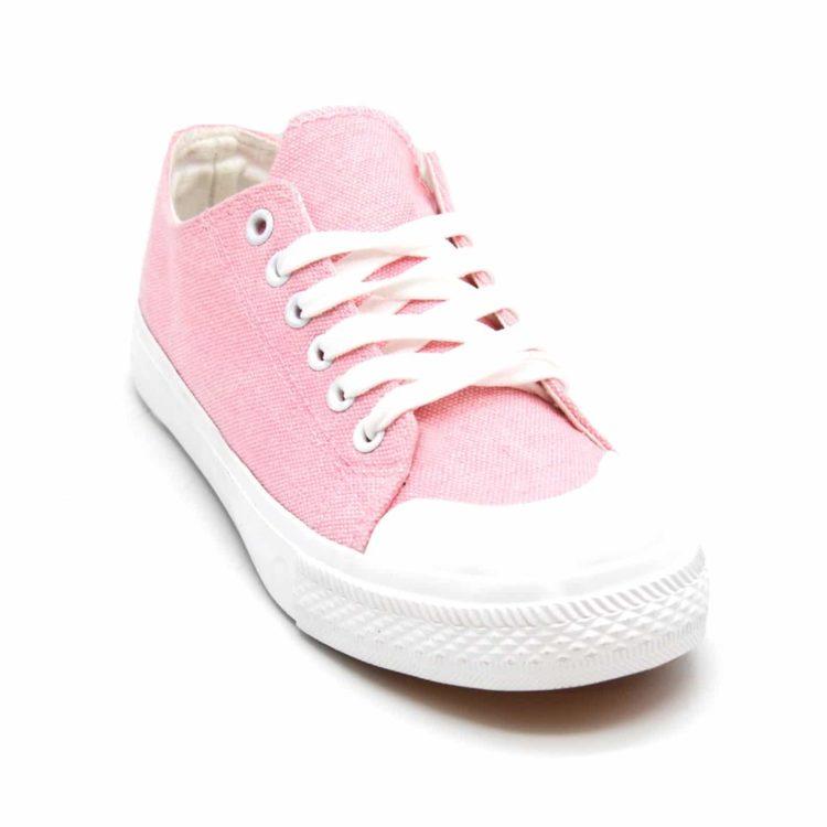 Baskets-Tennis-Sneakers-Toile-Uni-Rose-avec-Bout-Avant-et-Semelle-Blanche