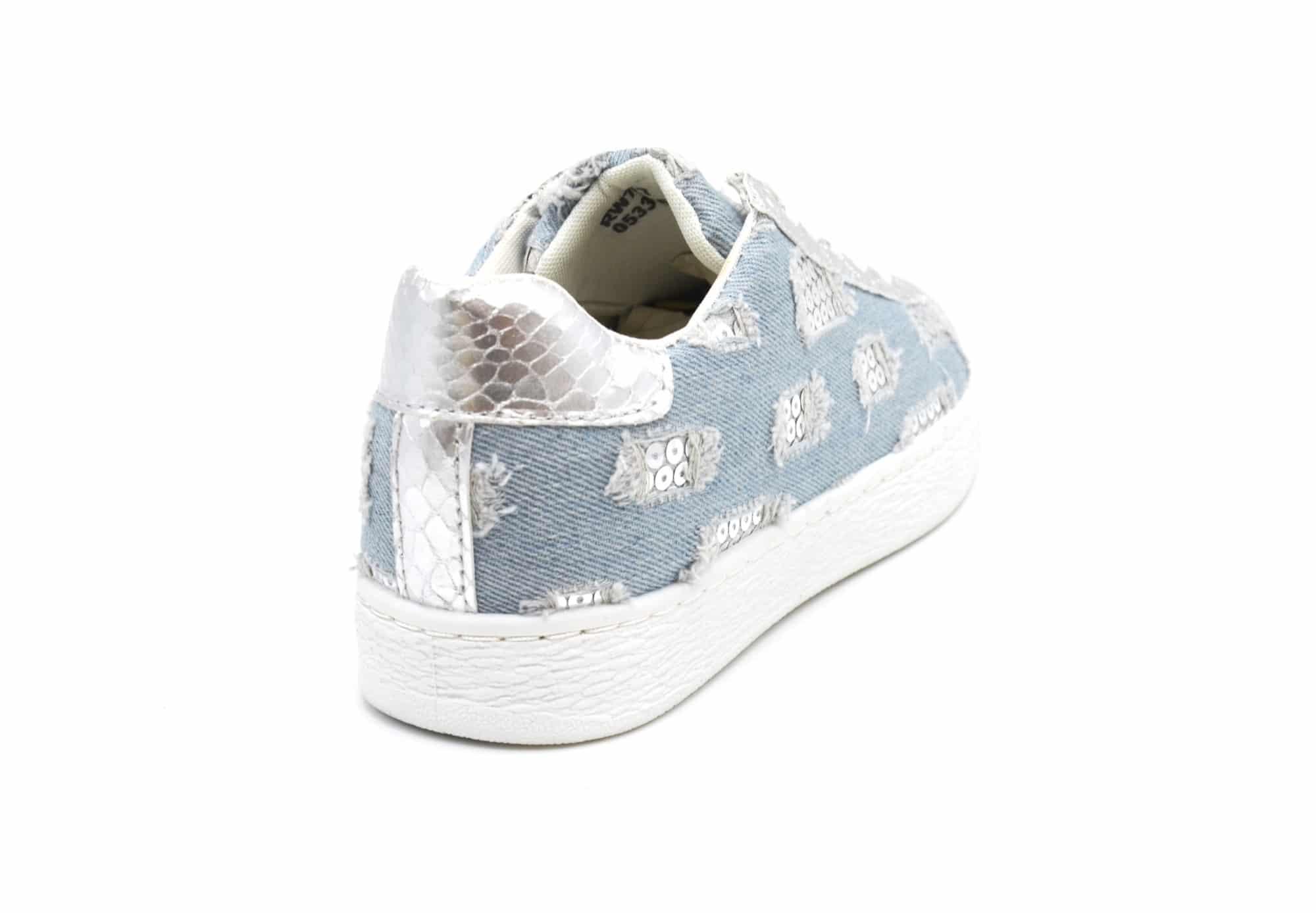 SHY48 * Baskets Tennis Sneakers Jean Denim Clair avec Motif Destroy Sequins et Ecailles Argenté