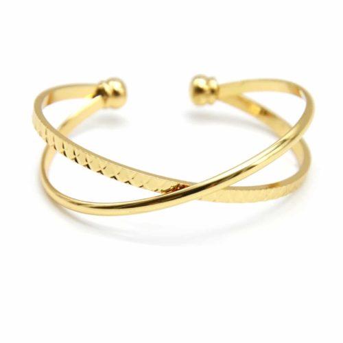 Bracelet-Ouvert-Double-Jonc-Croises-Metal-Dore-et-Relief-Ecailles