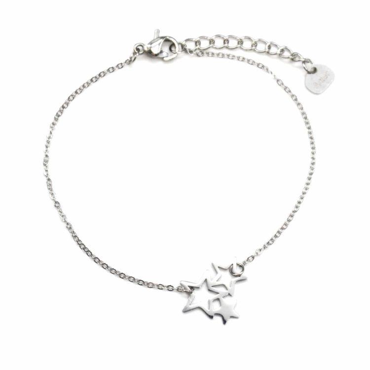 Bracelet-Fine-Chaine-avec-Charm-Triple-Etoiles-Acier-Argente