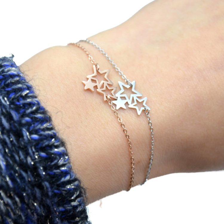 Bracelet-Fine-Chaine-avec-Charm-Triple-Etoiles-Acier