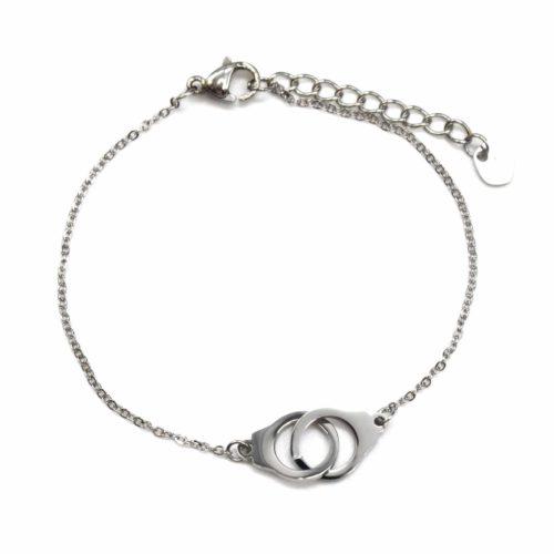 Bracelet-Fine-Chaine-avec-Charm-Menottes-Entrelacees-Acier-Argente
