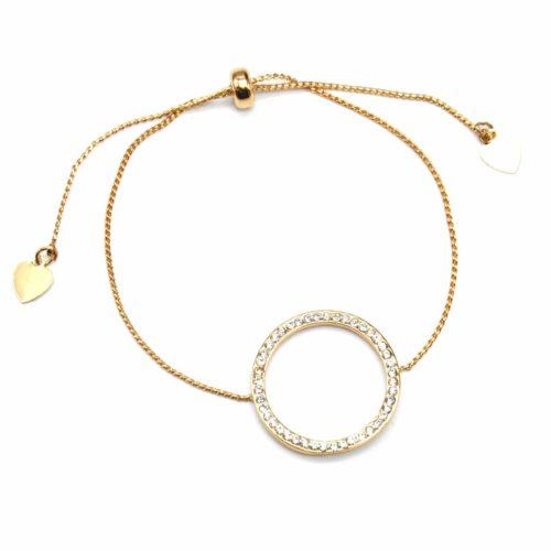Bracelet-Fine-Chaine-Ajustable-avec-Charm-Cercle-Contour-Strass-et-Metal-Dore