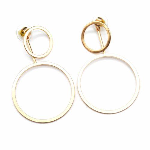 Boucles-dOreilles-Traversantes-Double-Cercles-Ouverts-Metal-Dore