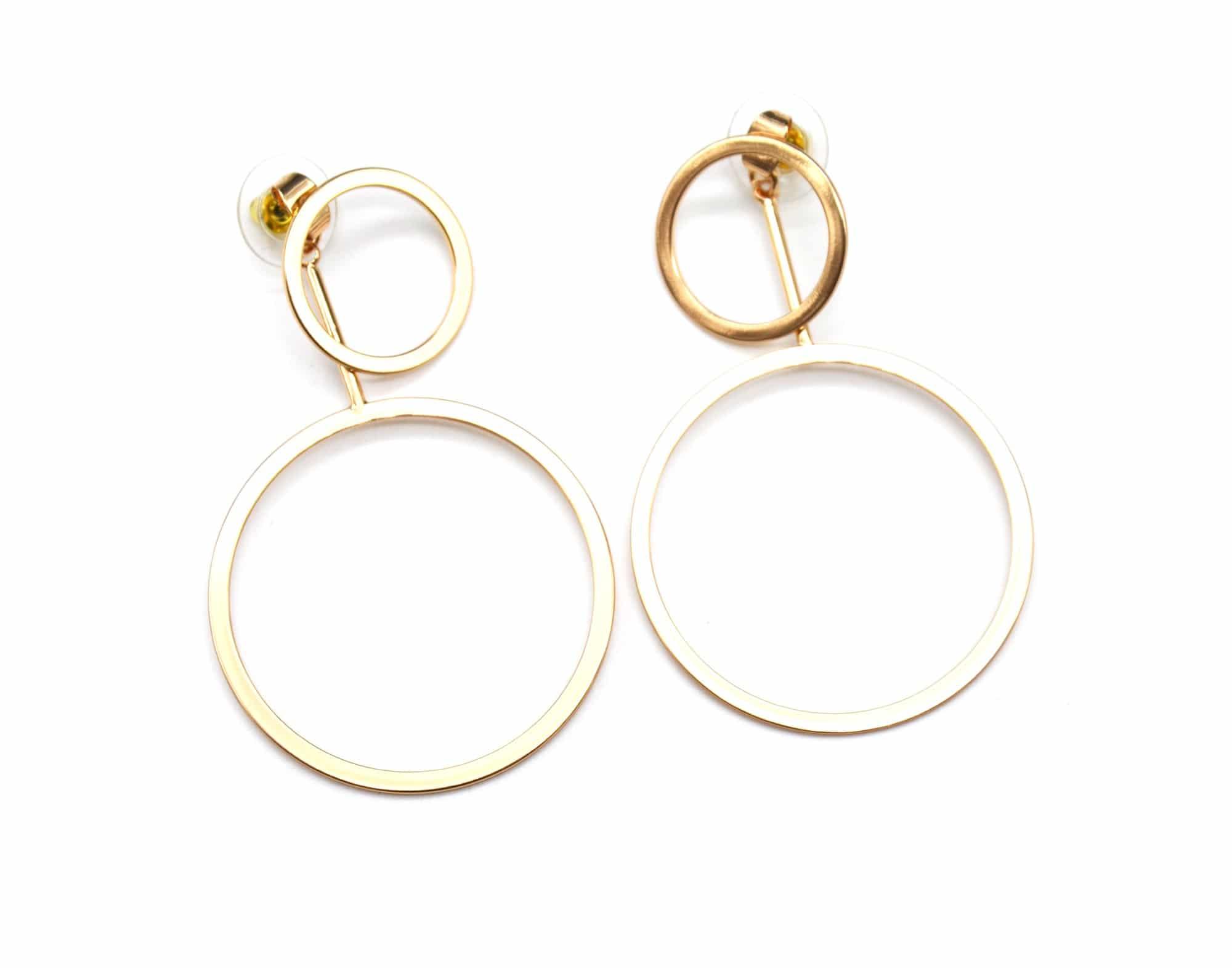 Boucles d/'Oreilles Traversantes Double Cercles Ouverts Métal Argenté BO866E