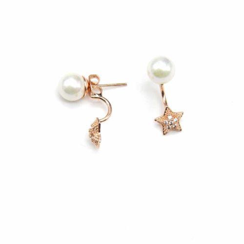 Boucles-dOreilles-Traversantes-Perle-Ecru-et-Etoile-Strass-Zirconium-Or-Rose