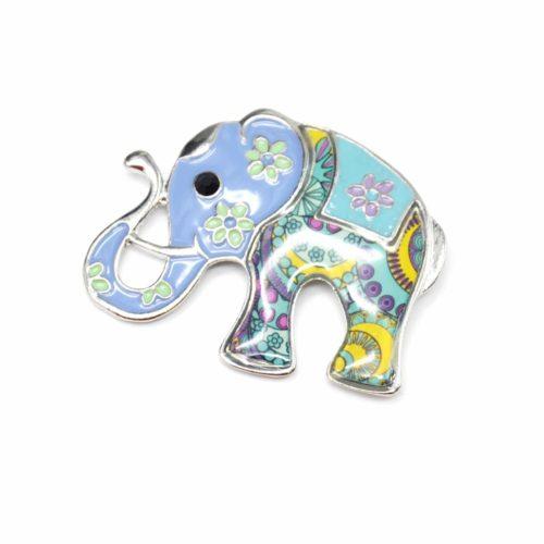 Broche-Elephant-Metal-Peint-Bleu-avec-Fleurs-Motif-Paisley-et-Metal-Argente