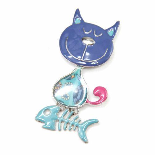 Broche-Chat-Metal-Peint-Bleu-Motif-Fleuri-et-Metal-Argente-avec-Aretes-Poisson
