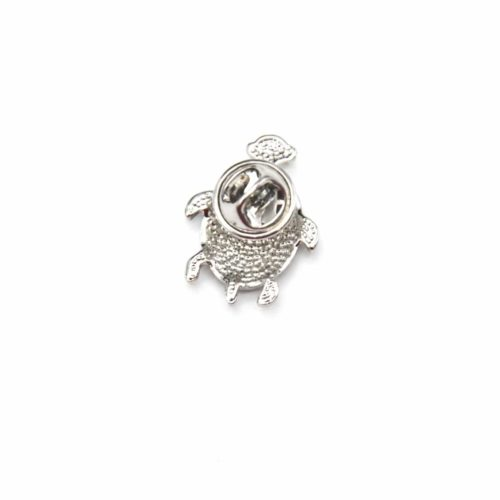 Mini-Broche-Pins-Tortue-Motif-Fleuri-Noir-et-Metal-Argente