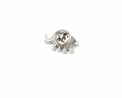 Mini-Broche-Pins-Elephant-Motif-Rayures-Noir-et-Metal-Argente