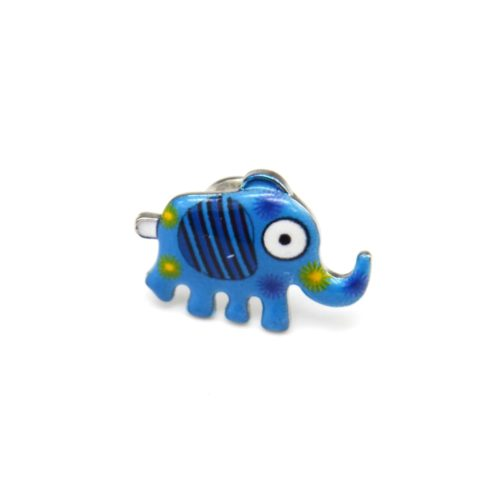 Mini-Broche-Pins-Elephant-Motif-Rayures-Bleu-et-Metal-Argente