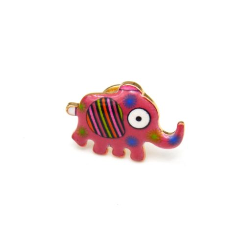 Mini-Broche-Pins-Elephant-Motif-Rayures-Rose-et-Metal-Dore