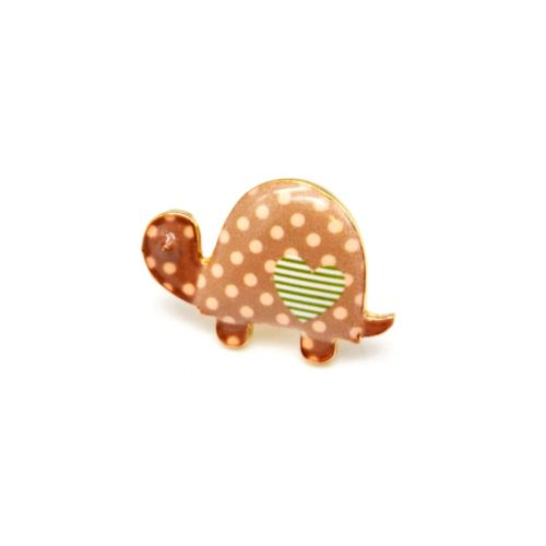Mini-Broche-Pins-Tortue-Motif-Pois-Taupe-et-Metal-Dore