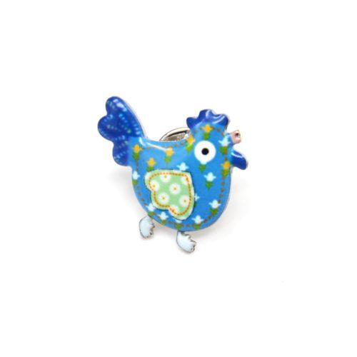 Mini-Broche-Pins-Poule-Motif-Fleuri-Bleu-et-Metal-Argente