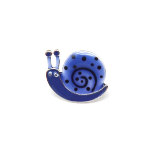 Mini-Broche-Pins-Escargot-Motif-Pois-Bleu-et-Metal-Argente