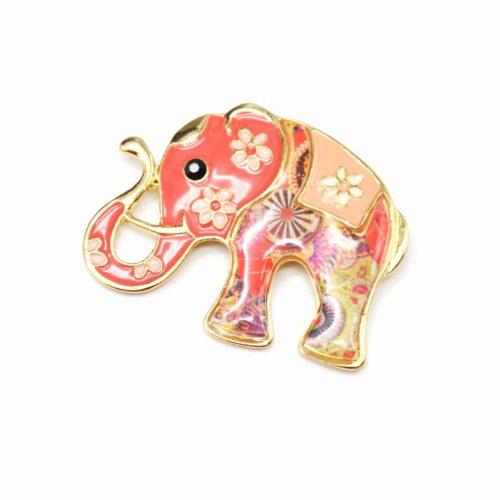 Broche-Elephant-Metal-Peint-Corail-avec-Fleurs-Motif-Paisley-et-Metal-Dore