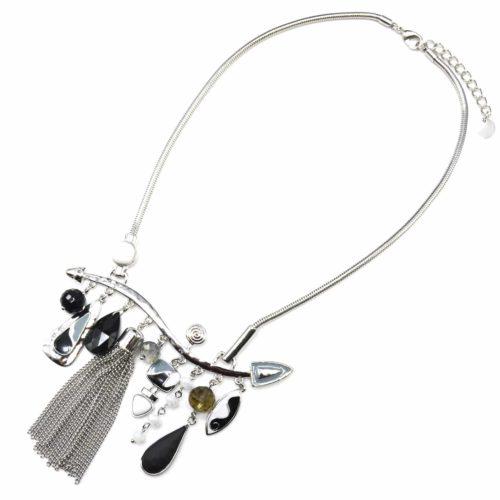 Collier-Plastron-Pendentif-Multi-Formes-Email-Noir-Perles-Pompon-Chaines-et-Metal-Argente