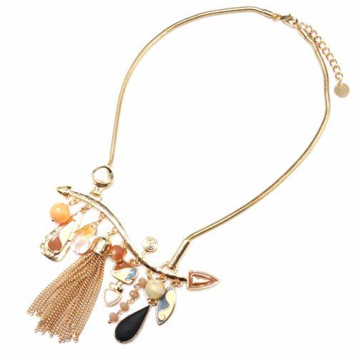 Collier-Plastron-Pendentif-Multi-Formes-Email-Beige-Perles-Pompon-Chaines-et-Metal-Dore