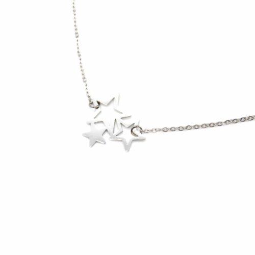 Collier-Fine-Chaine-Pendentif-Triple-Etoiles-Acier-Argente