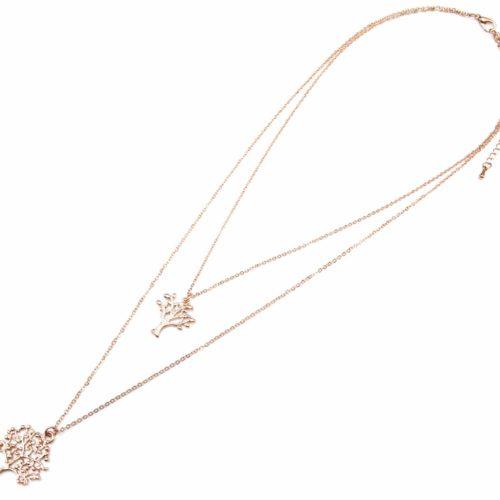Collier-Double-Rangs-Pendentifs-Arbres-de-Vie-Metal-Or-Rose