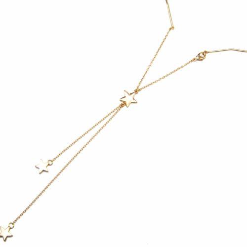 Collier-Ras-du-Cou-avec-Pendentif-Y-Etoiles-et-Chaines-Metal-Dore