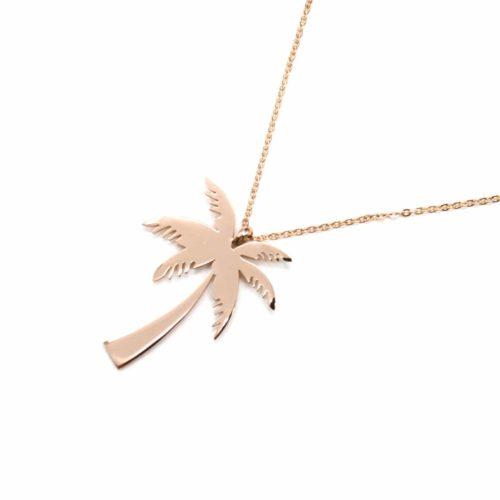 Sautoir-Collier-Fine-Chaine-avec-Pendentif-Palmier-Acier-Or-Rose