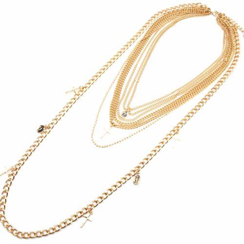 Sautoir-Collier-Multi-Chaines-Metal-Dore-avec-Pampilles-Croix-et-Vierge-Marie