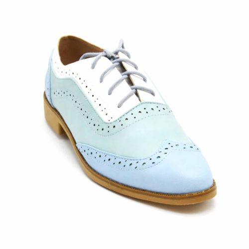 Derbies-Derby-Simili-Cuir-Perfore-Tricolore-Bleu-avec-Surpiqures-Lacets-et-Petit-Talon