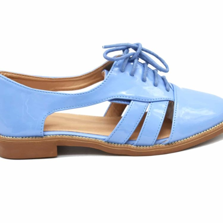 Derbies-Derby-Ouvertes-Vernis-Bleu-avec-Double-Lanieres-Lacets-et-Petit-Talon