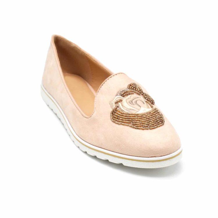 Mocassins-Slippers-Effet-Daim-Rose-Nude-avec-Broderie-Fleur-Perles-Rocaille-et-Semelle-Blanche
