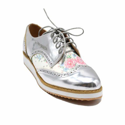 Derbies-Derby-Vernis-Perfore-Argente-avec-Motif-Fleurs-Multicolore-Lacets-et-Semelle-Compensee