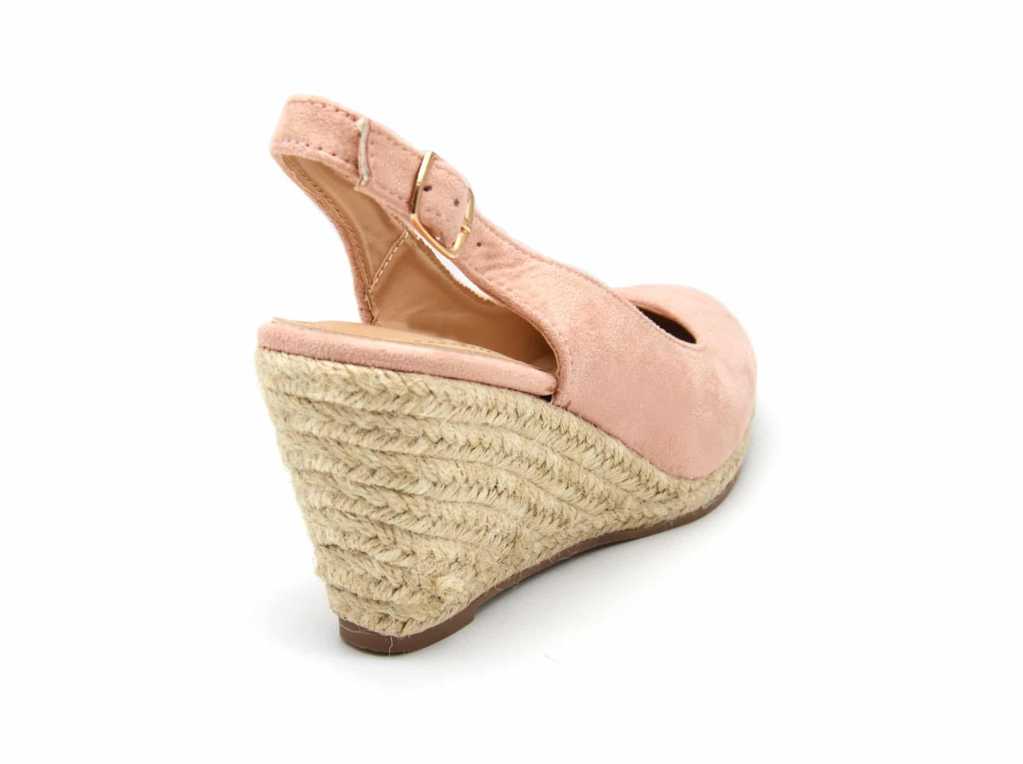 Sandales-Espadrilles-Compensees-Effet-Daim-Rose-avec-Bride-et-Boucle-Arriere