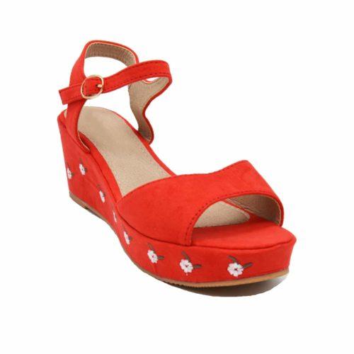 Sandales-a-Talon-Compense-Effet-Daim-Rouge-avec-Broderie-Fleurs-et-Bride