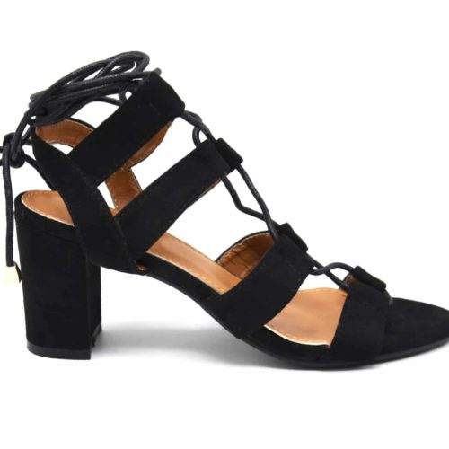 Sandales-a-Talon-Carre-Effet-Daim-Noir-avec-Multi-Brides-et-Lacet-Cheville