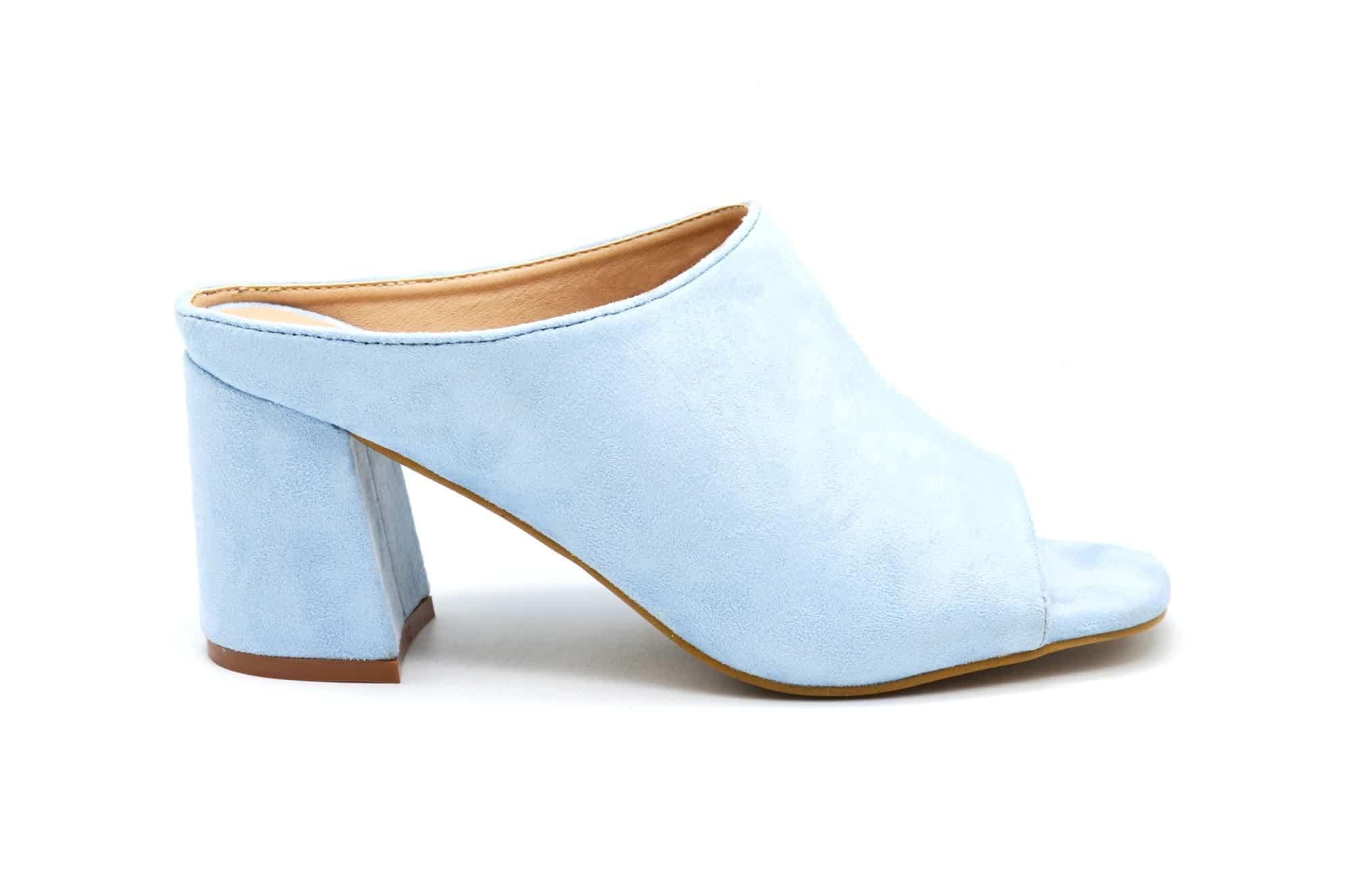 Daim Carré Talon Effet Pastel Chaussures Sht38mules Avec Bleu Tdhcsqr À zMSUqVp