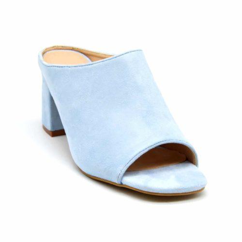 Mules-Chaussures-a-Talon-Carre-Effet-Daim-Bleu-Pastel-avec-Bout-Ouvert-Peep-Toe