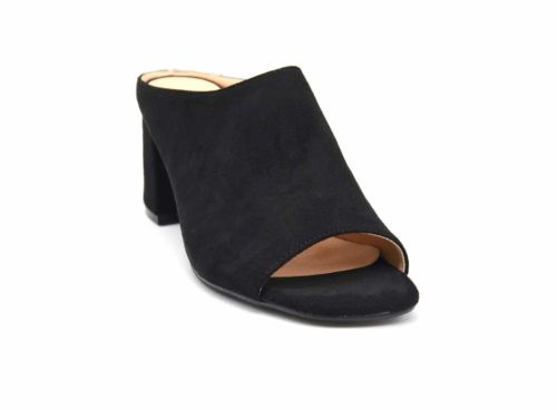 Mules-Chaussures-a-Talon-Carre-Effet-Daim-Noir-avec-Bout-Ouvert-Peep-Toe