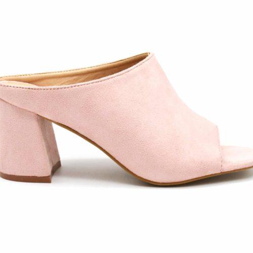 Mules-Chaussures-a-Talon-Carre-Effet-Daim-Rose-Pastel-avec-Bout-Ouvert-Peep-Toe