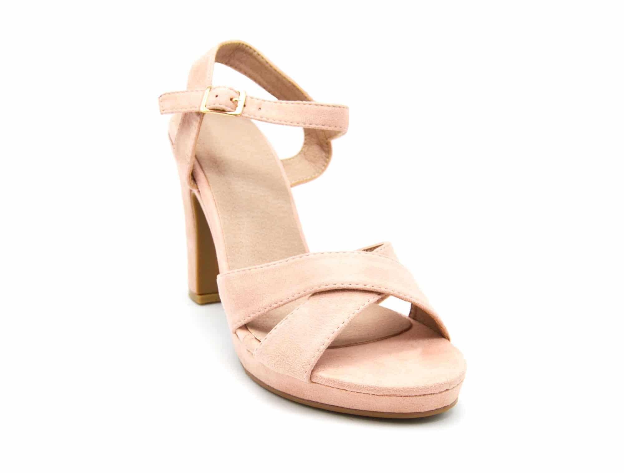 sht40 sandales talon carr effet daim rose avec brides crois es et boucle oh my shop. Black Bedroom Furniture Sets. Home Design Ideas