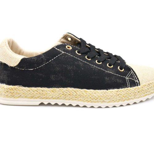 Baskets-Tennis-Sneakers-Effet-Jean-Denim-Noir-avec-Surpiqures-Bouts-et-Semelle-Effet-Paille