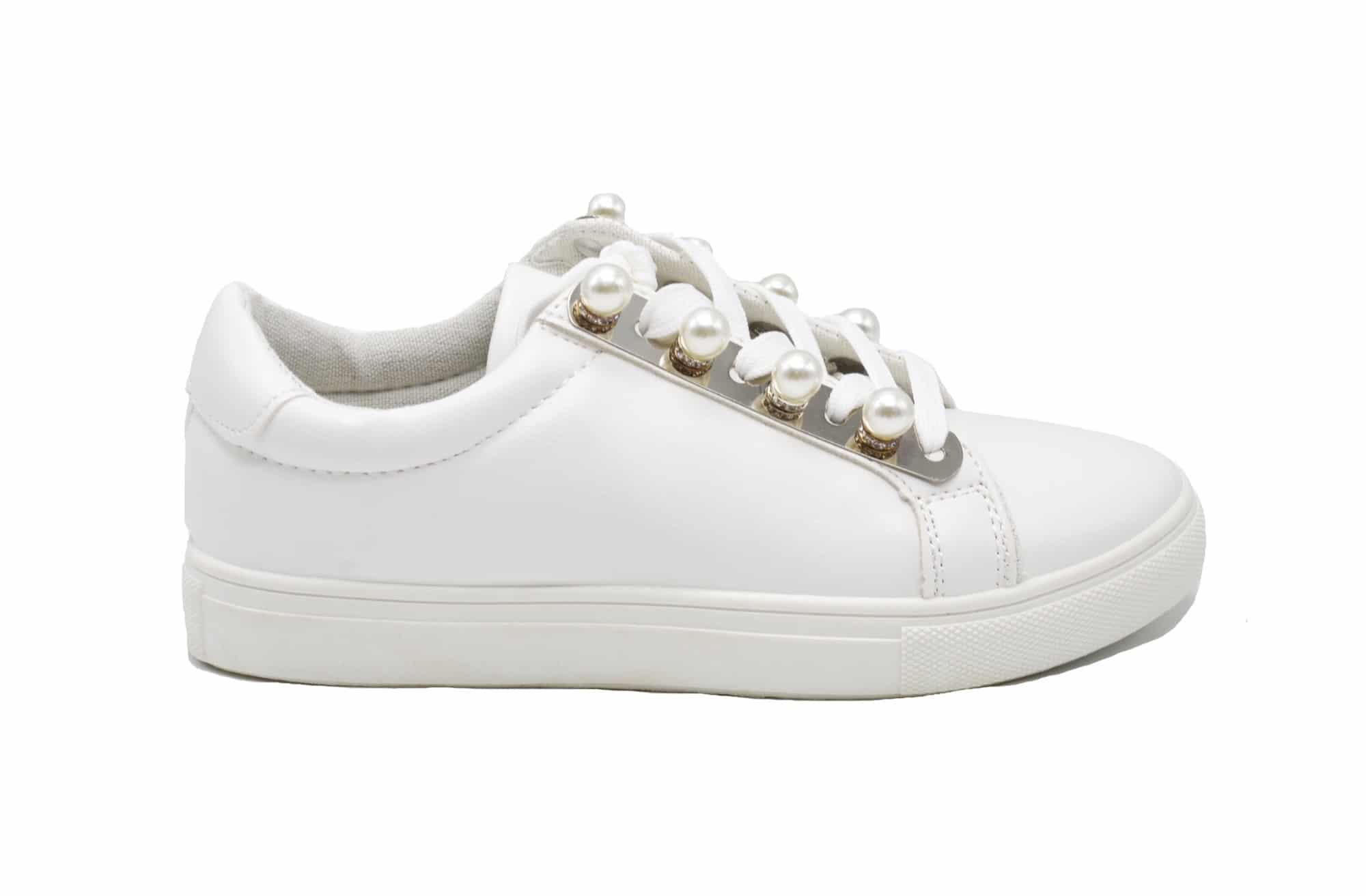 09f012c917628 SHY51   Baskets Tennis Sneakers Basses Simili Cuir Blanc avec Perles ...