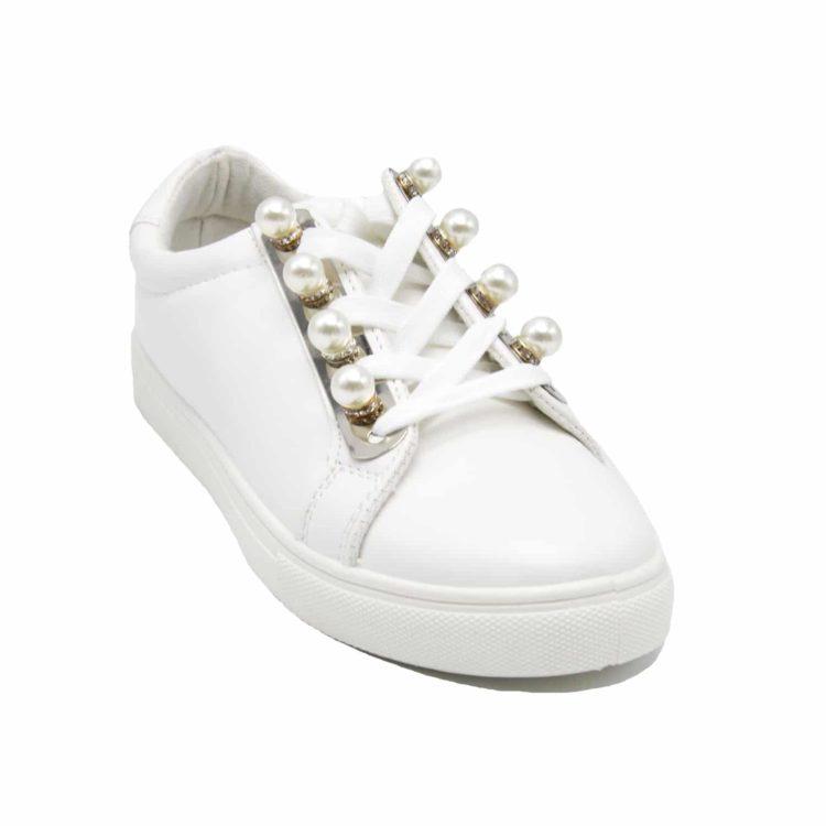 Baskets-Tennis-Sneakers-Basses-Simili-Cuir-Blanc-avec-Perles-Strass-Plaques-Metal-et-Semelle-Compensee