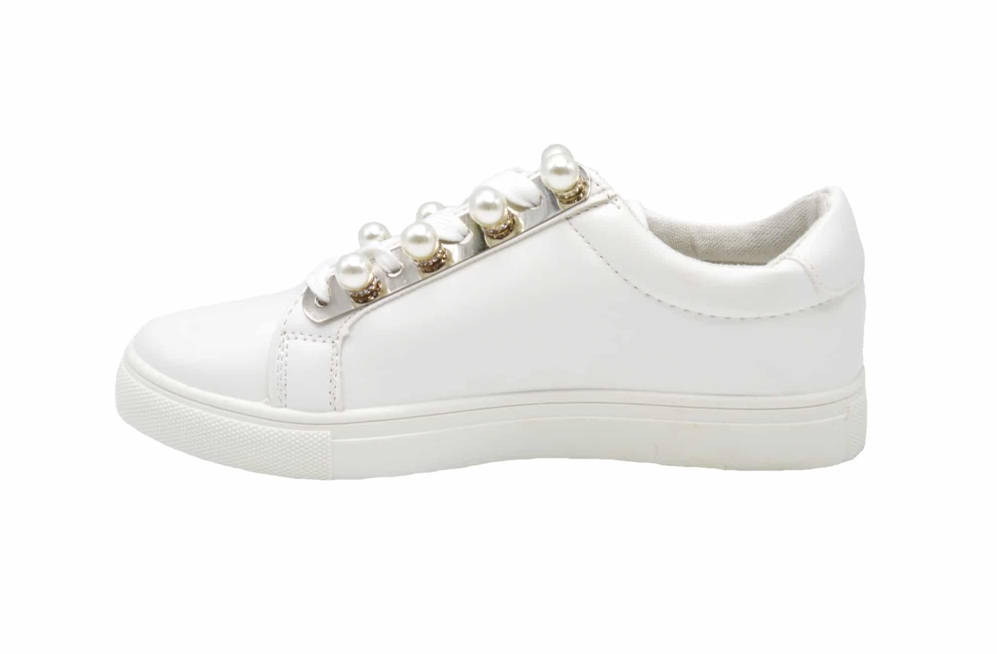 Sneakers Cuir Shy51Baskets Blanc Tennis Simili Avec Perles Basses qMVSGUzp