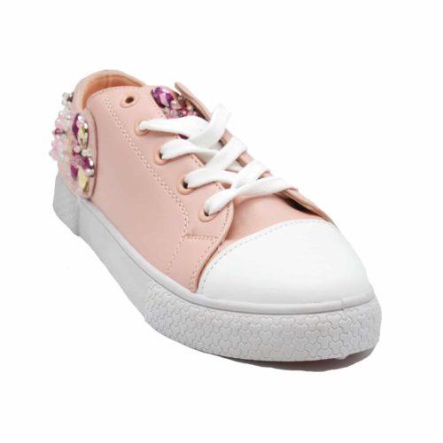 Baskets-Tennis-Sneakers-Simili-Cuir-Rose-avec-Ornements-Fleurs-Pierres-Perles-et-Semelle-Blanche