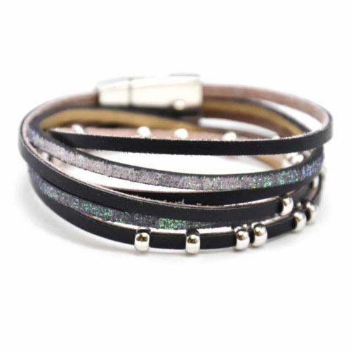 Bracelet-Double-Tour-Multi-Rangs-Simili-Cuir-Noir-et-Paillettes-avec-Charms-Boules-Metal-Argente