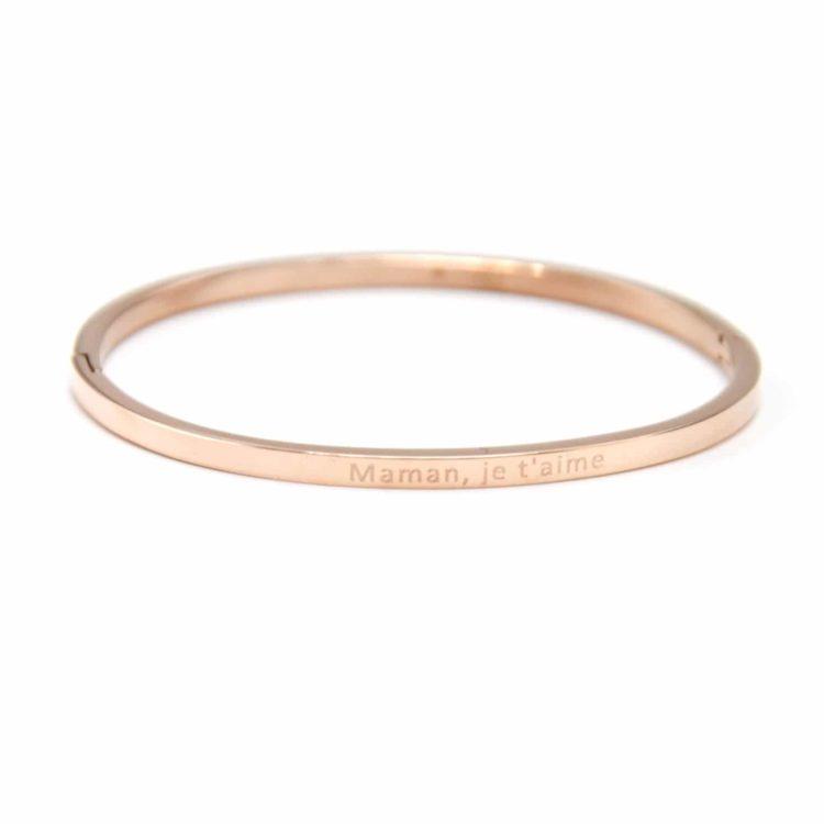 Bracelet-Jonc-Fin-Acier-Or-Rose-avec-Message-Maman-je-taime