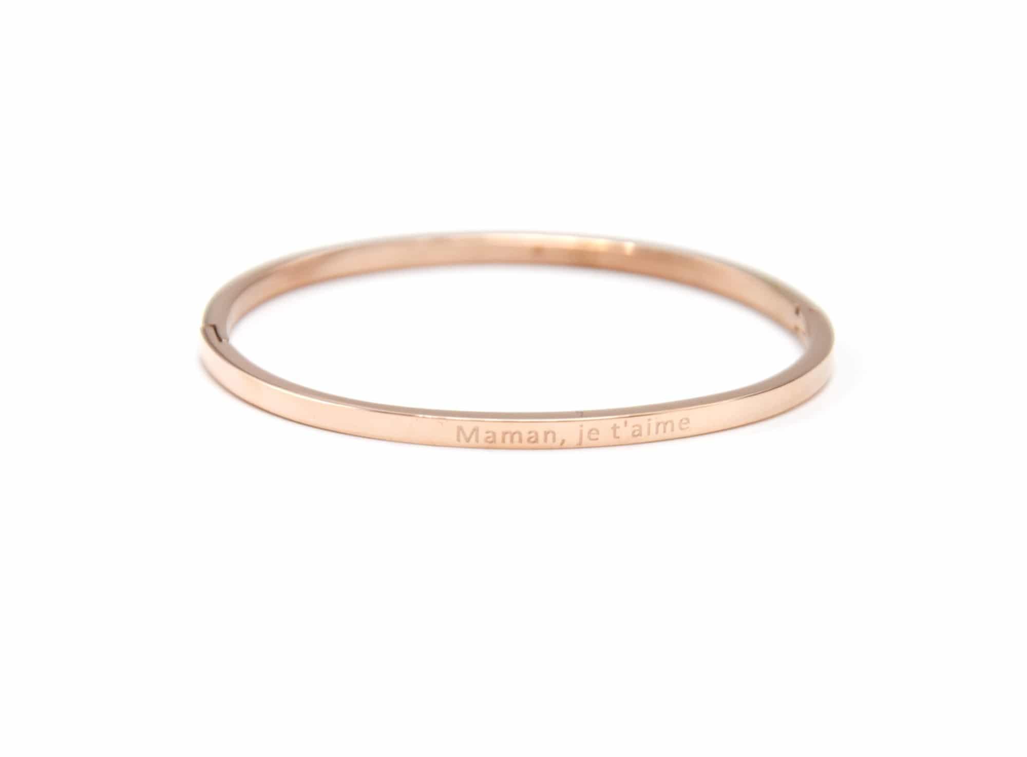 nouveau sélection qualité parfaite nouveau produit BC2295F - Bracelet Jonc Fin Acier Or Rose avec Message Maman, je t'aime