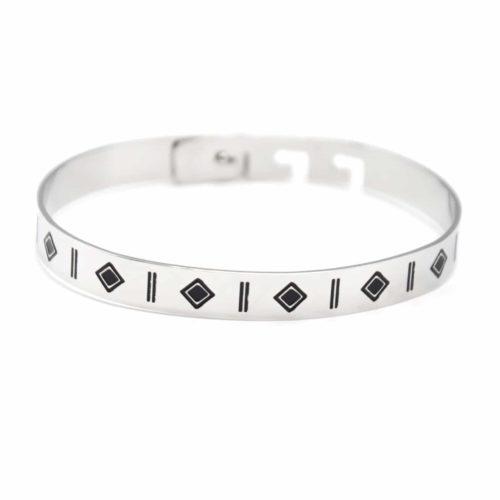 Bracelet-Jonc-Acier-Argente-avec-Motifs-Geometriques-Ethnique-Noir